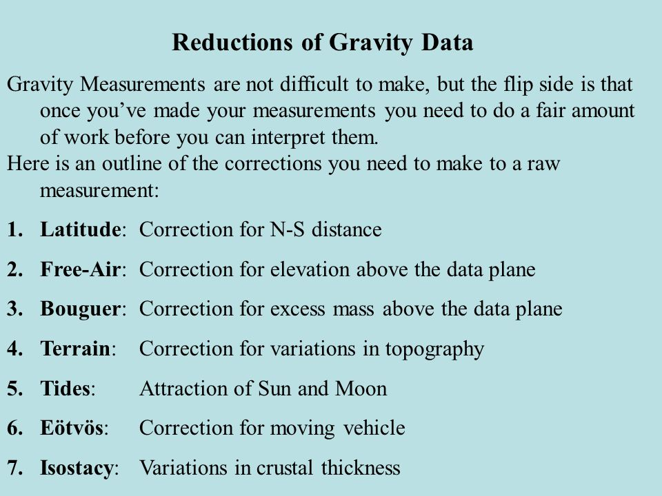 Reductions of Gravity Data