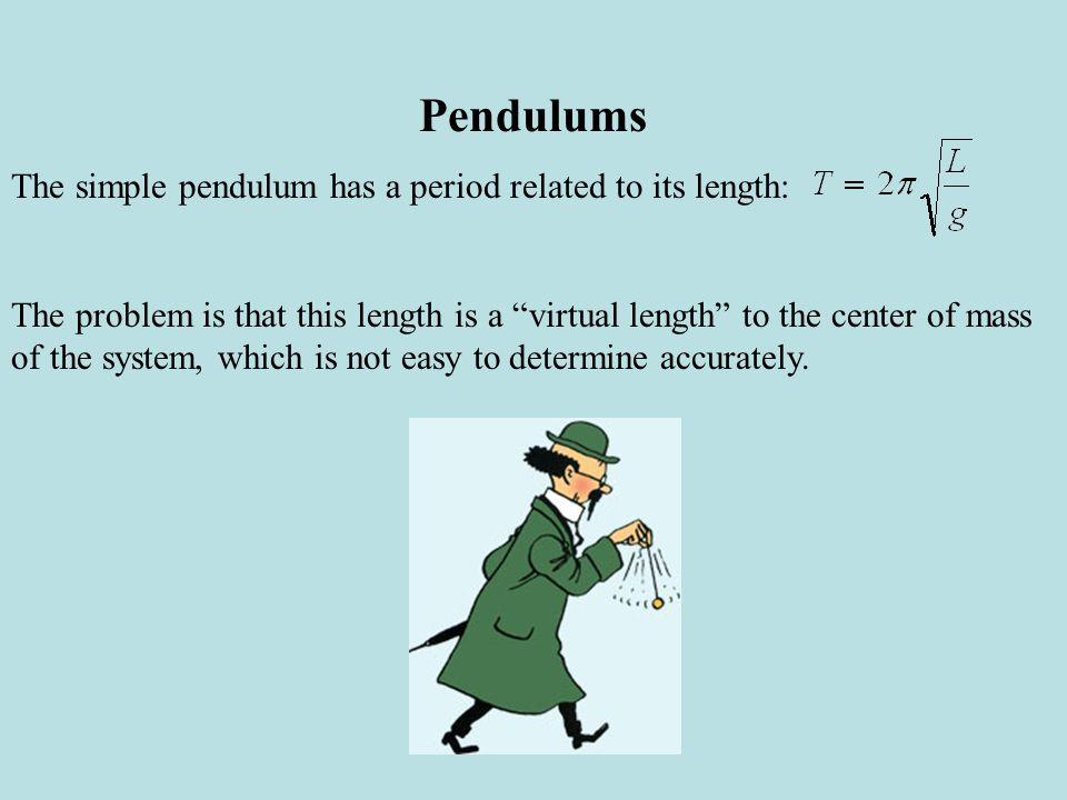 Pendulums The simple pendulum has a period related to its length: