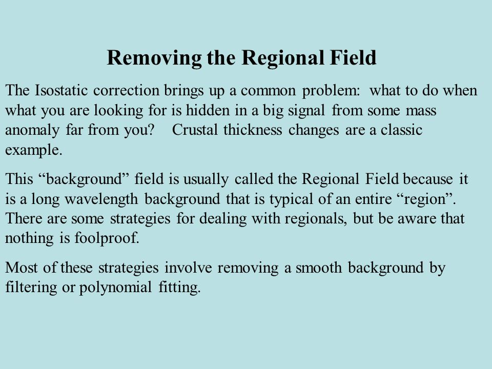 Removing the Regional Field