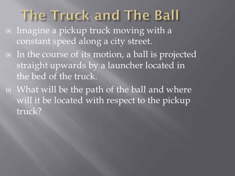 The Truck and The Ball Imagine a pickup truck moving with a constant speed along a city street.