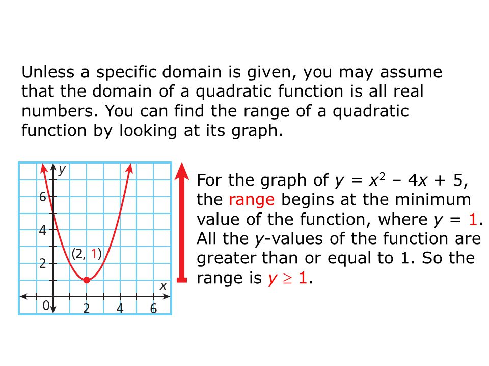 Unless a specific domain is given, you may assume that the domain of a quadratic function is all real numbers. You can find the range of a quadratic function by looking at its graph.