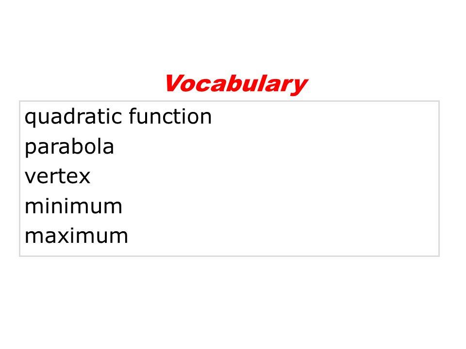 Vocabulary quadratic function parabola vertex minimum maximum