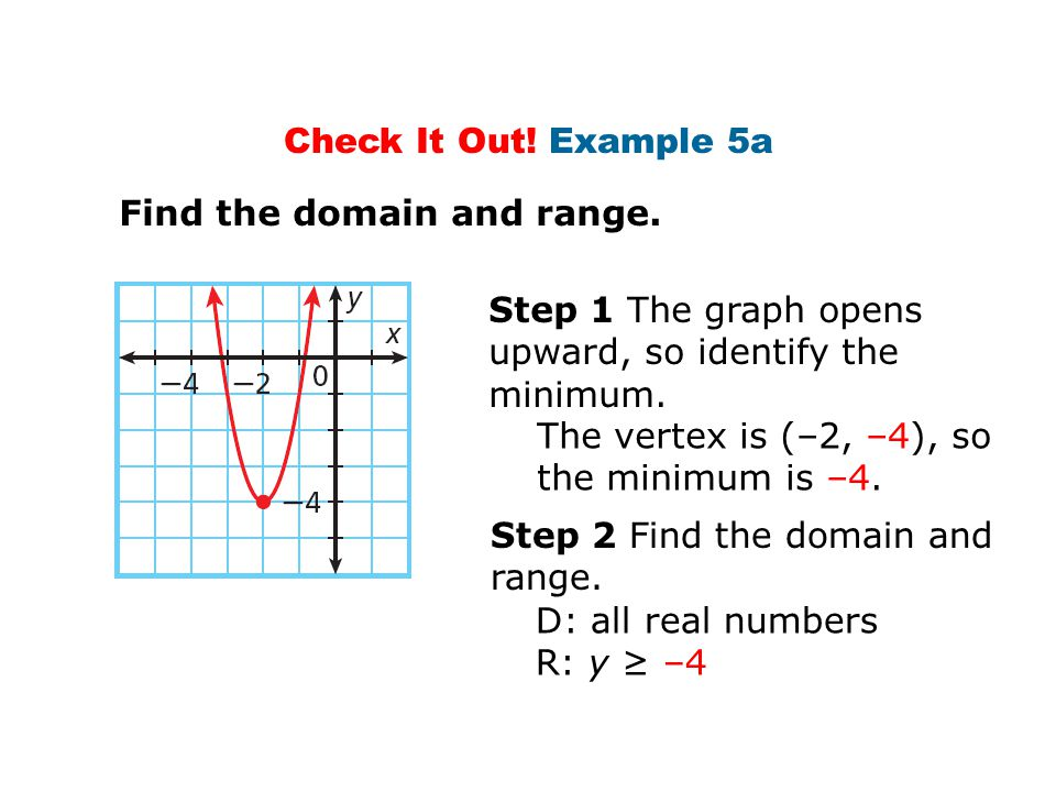 Check It Out! Example 5a Find the domain and range. Step 1 The graph opens upward, so identify the minimum.