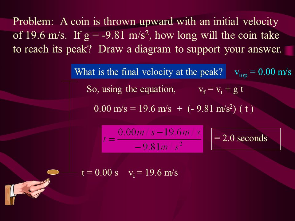 Problem: A coin is thrown upward with an initial velocity of 19. 6 m/s