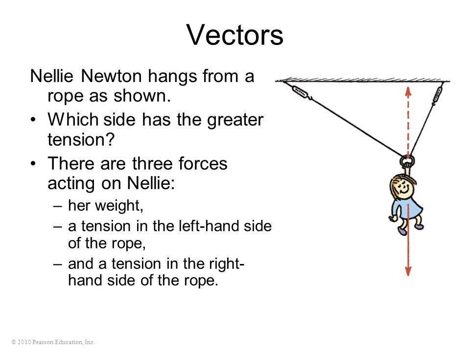 Vectors Nellie Newton hangs from a rope as shown.