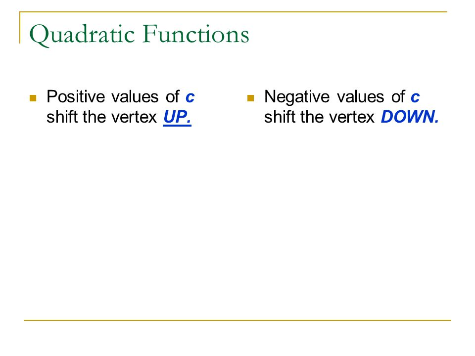 Quadratic Functions Positive values of c shift the vertex UP.