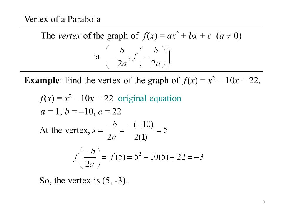 The vertex of the graph of f (x) = ax2 + bx + c (a  0)