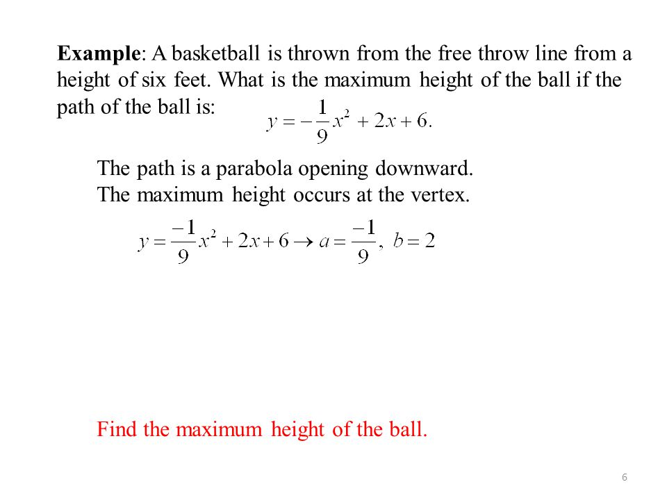 Find the maximum height of the ball.