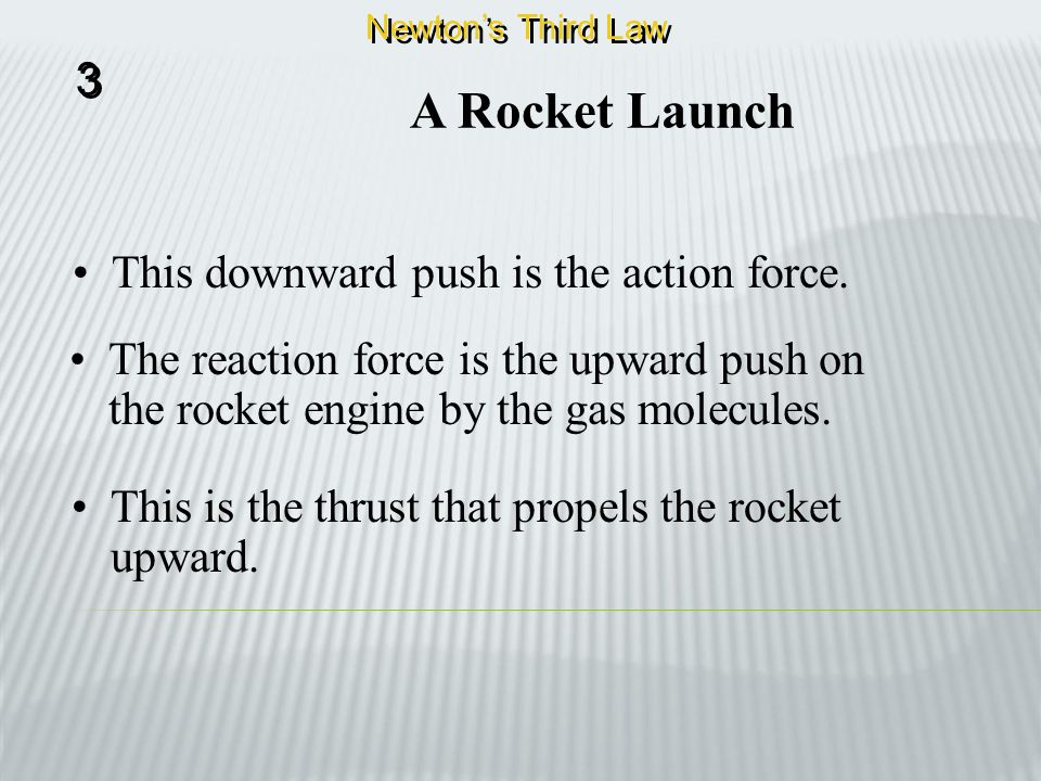 A Rocket Launch 3 This downward push is the action force.