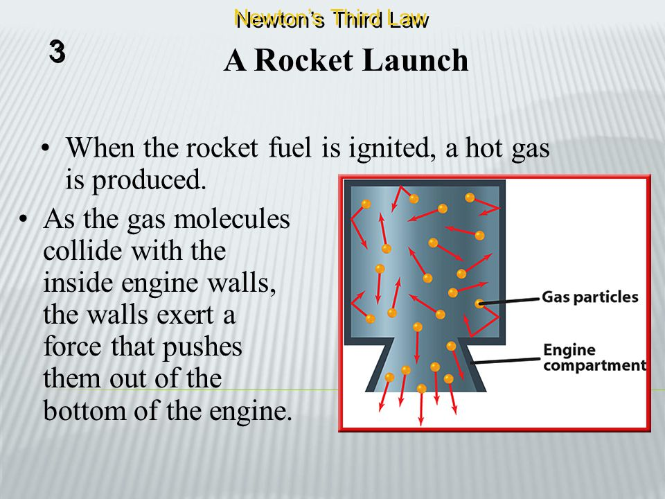 Newton's Third Law 3. A Rocket Launch. When the rocket fuel is ignited, a hot gas is produced.