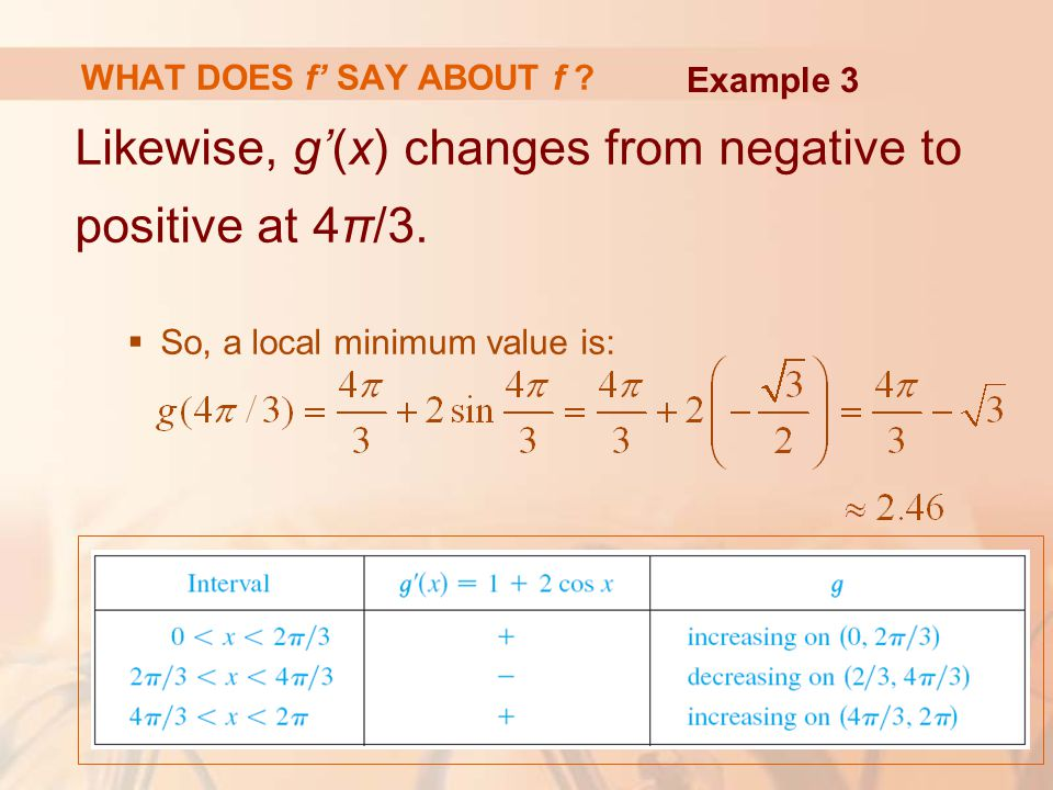 Likewise, g'(x) changes from negative to positive at 4π/3.