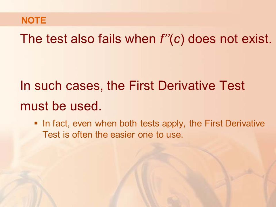 The test also fails when f''(c) does not exist.