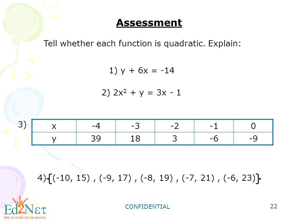 Tell whether each function is quadratic. Explain: