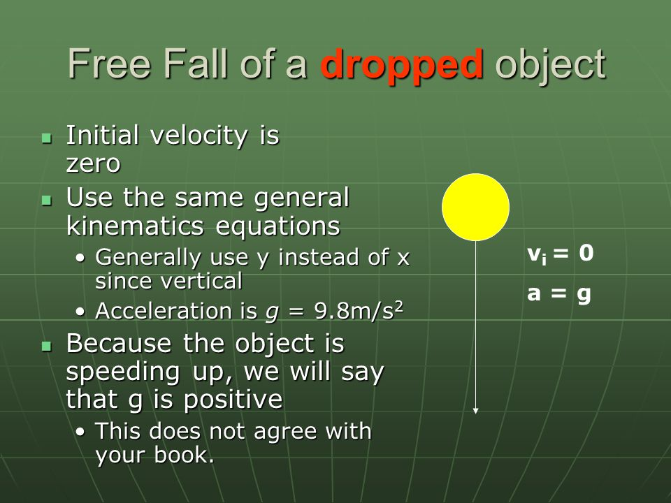 Free Fall of a dropped object