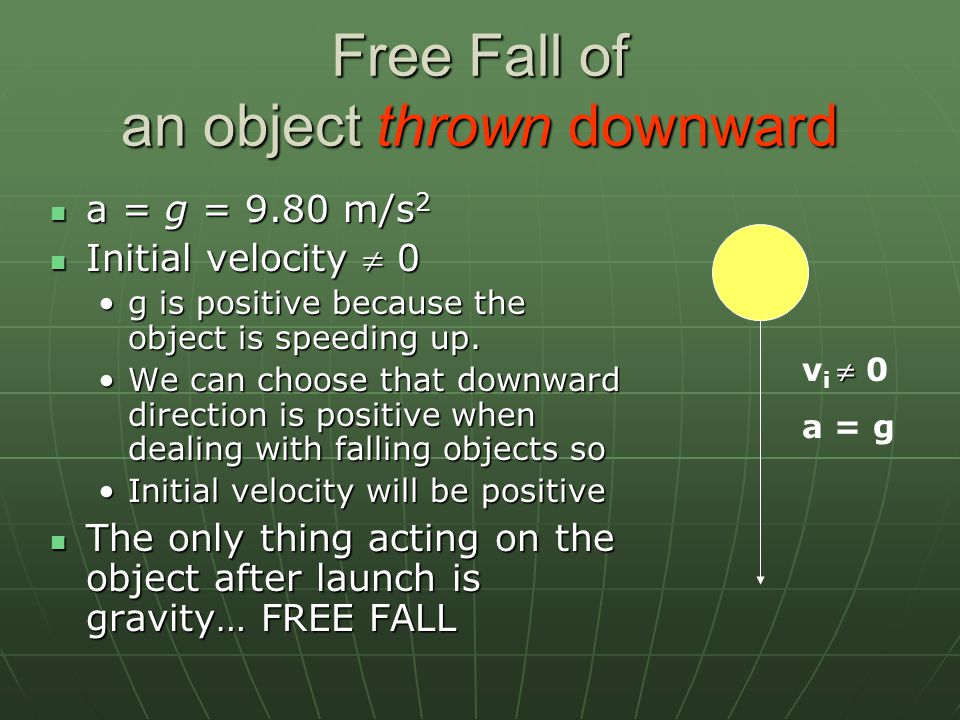 Free Fall of an object thrown downward
