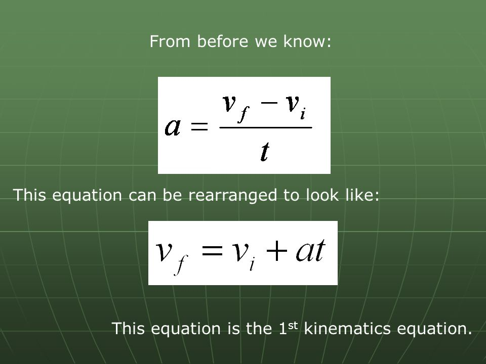 From before we know: This equation can be rearranged to look like: This equation is the 1st kinematics equation.