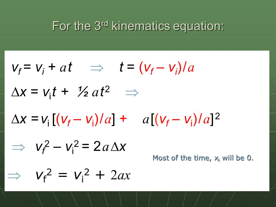 For the 3rd kinematics equation: