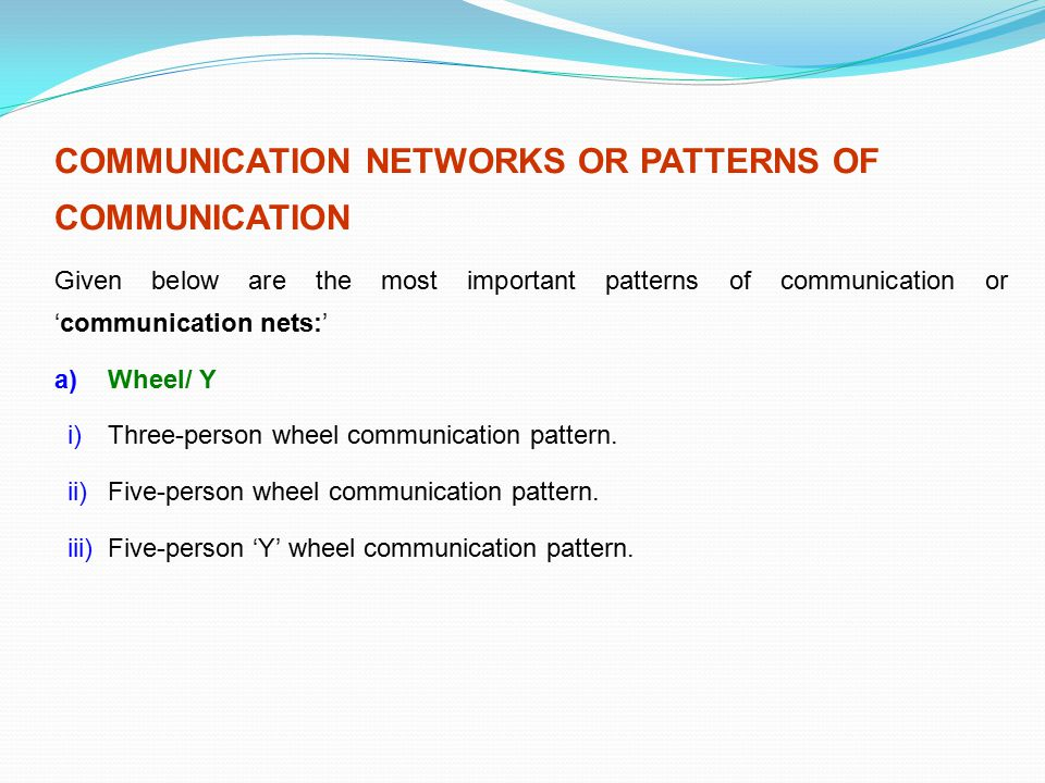 COMMUNICATION NETWORKS OR PATTERNS OF COMMUNICATION