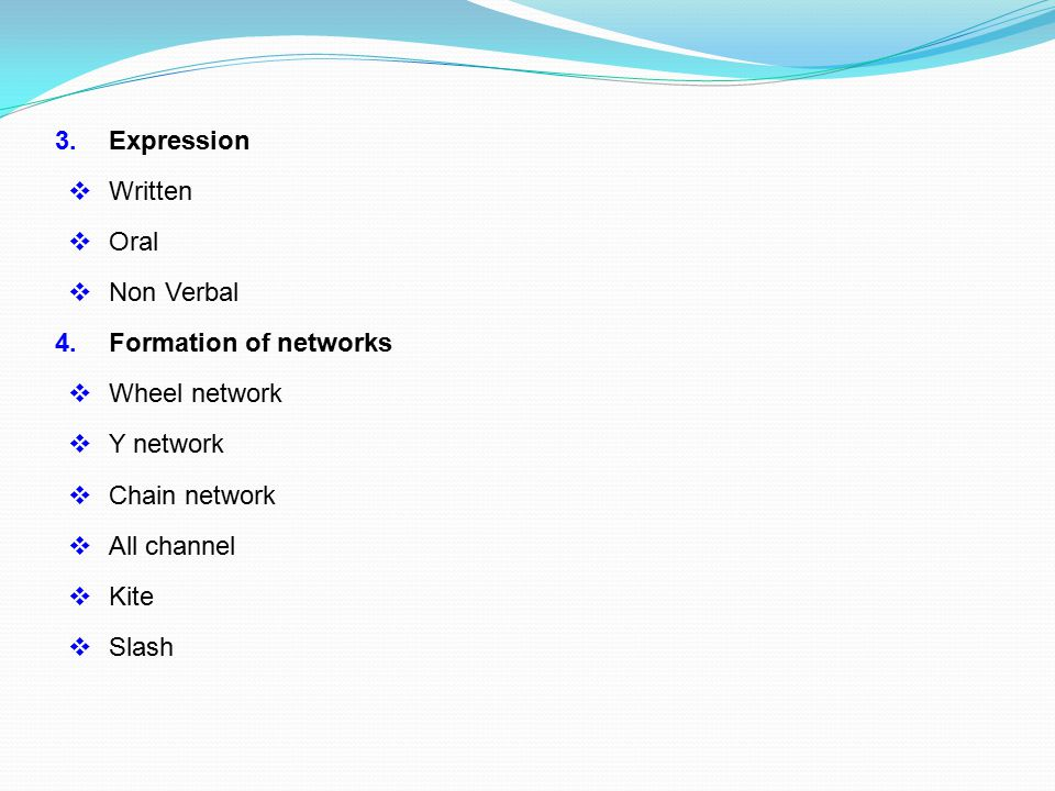 3. Expression Written. Oral. Non Verbal. 4. Formation of networks. Wheel network. Y network.