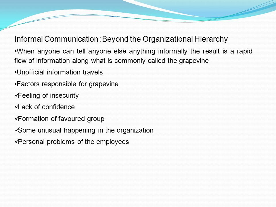 Informal Communication :Beyond the Organizational Hierarchy