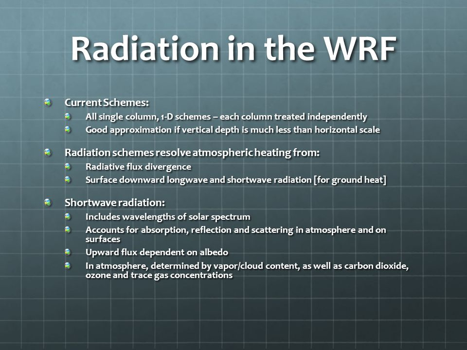 Radiation in the WRF Current Schemes: