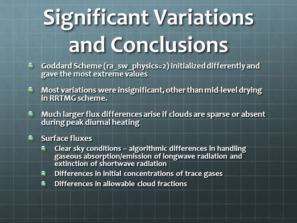 Significant Variations and Conclusions