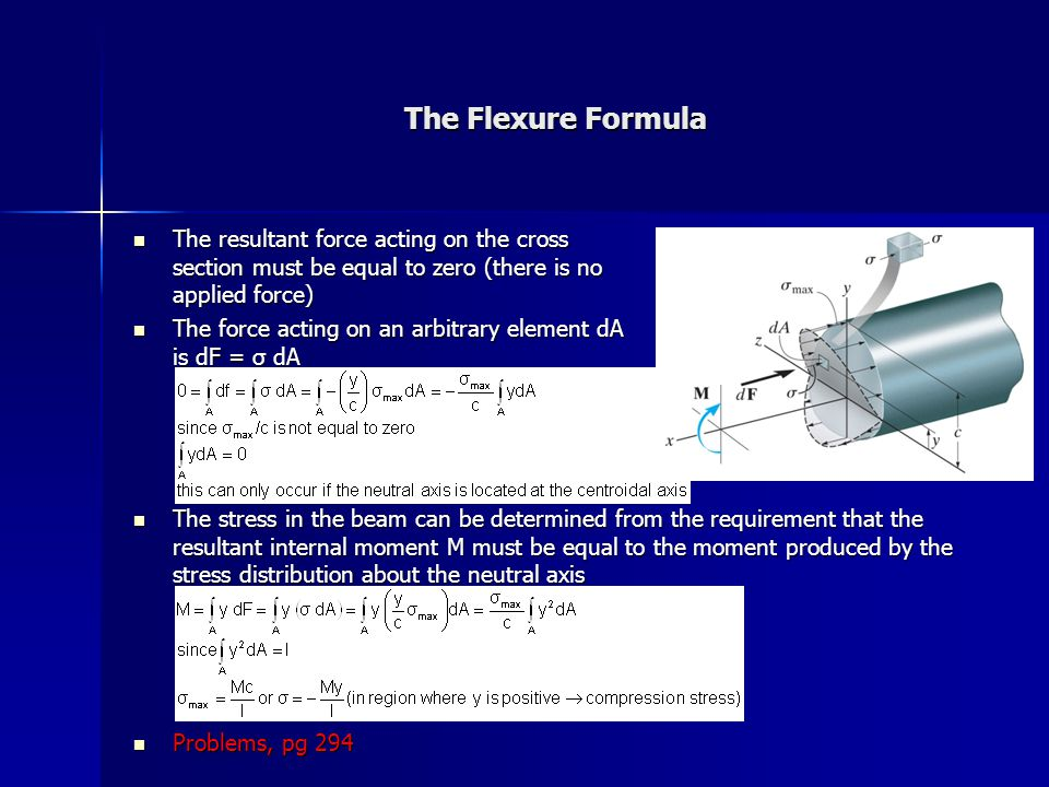 The Flexure Formula The resultant force acting on the cross section must be equal to zero (there is no applied force)