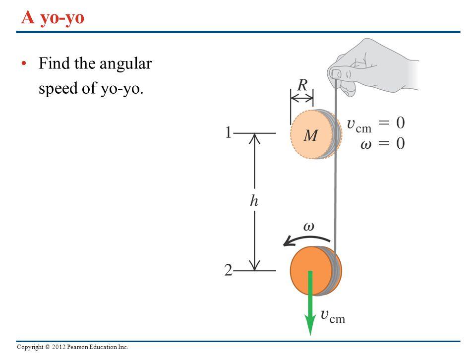 A yo-yo Find the angular speed of yo-yo.