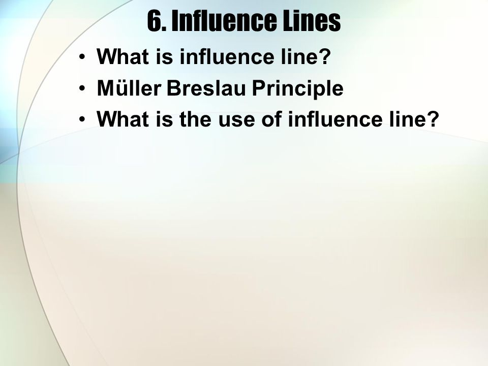 6. Influence Lines What is influence line Müller Breslau Principle