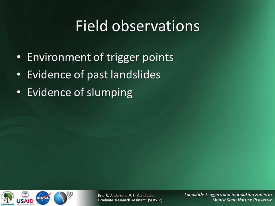 Field observations Environment of trigger points