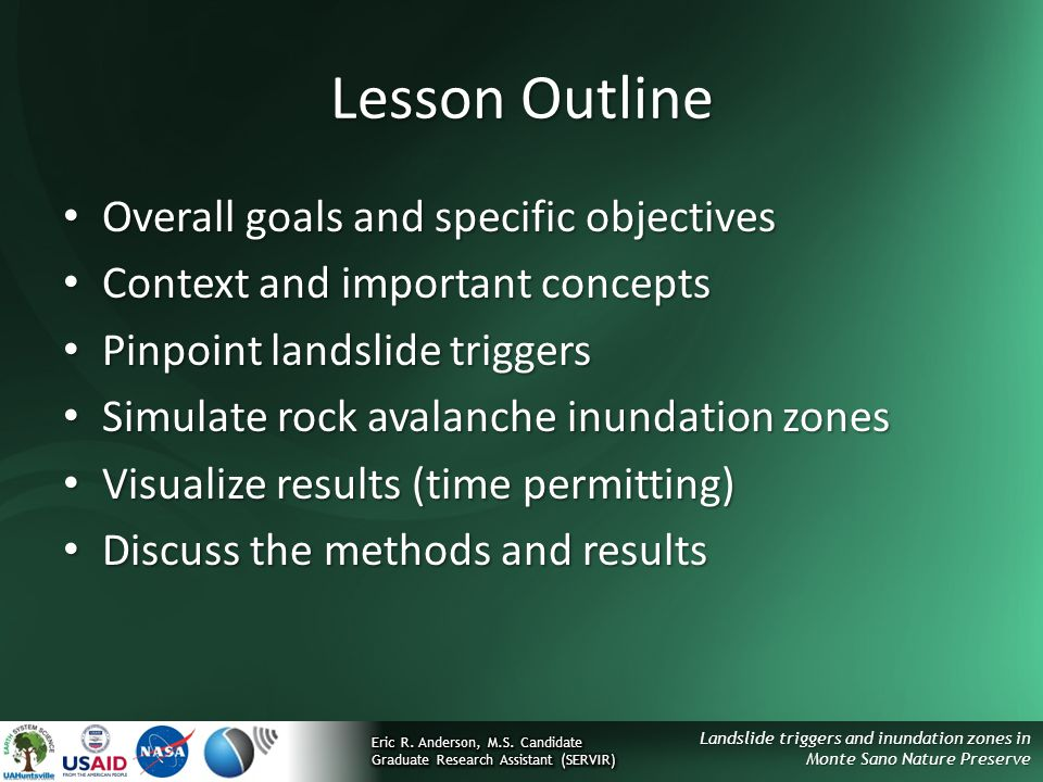 Lesson Outline Overall goals and specific objectives