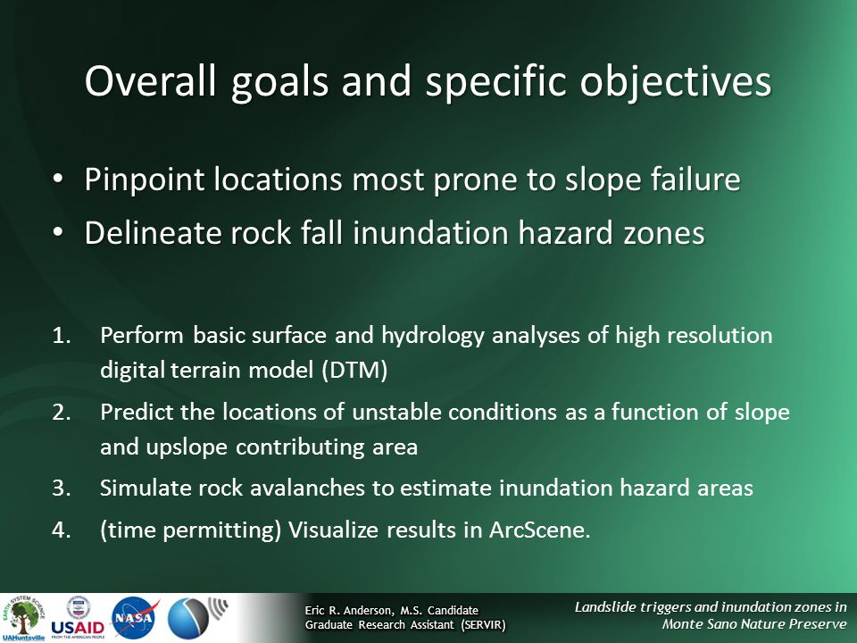 Overall goals and specific objectives
