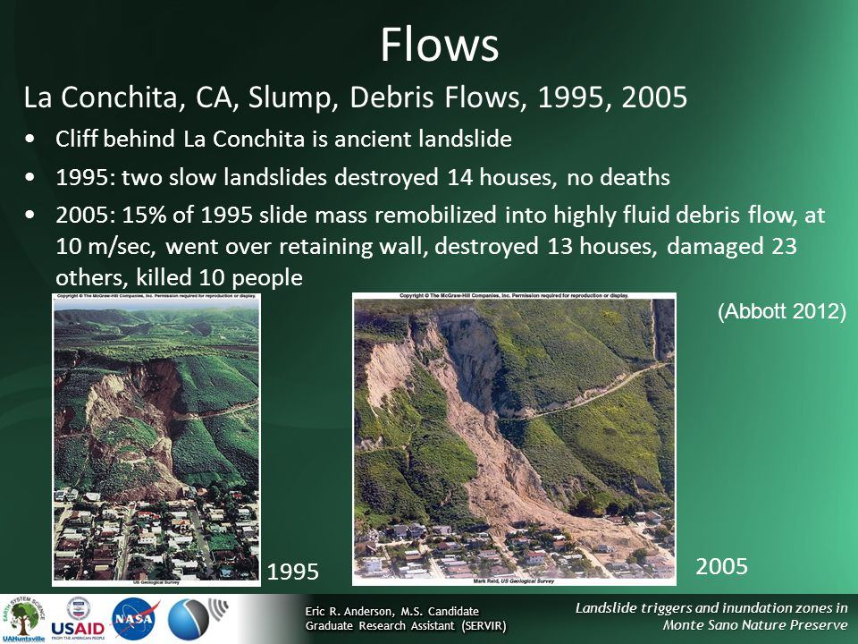 Flows La Conchita, CA, Slump, Debris Flows, 1995, 2005