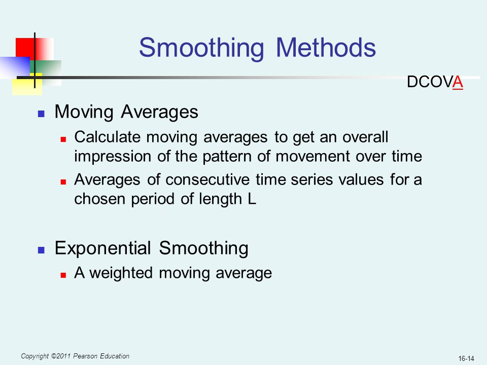 Smoothing Methods Moving Averages Exponential Smoothing DCOVA