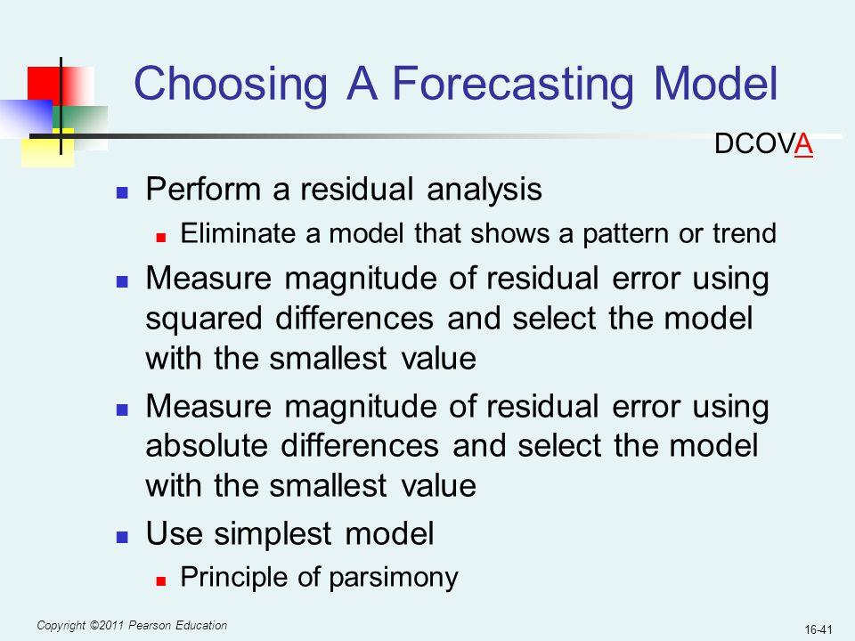 Choosing A Forecasting Model