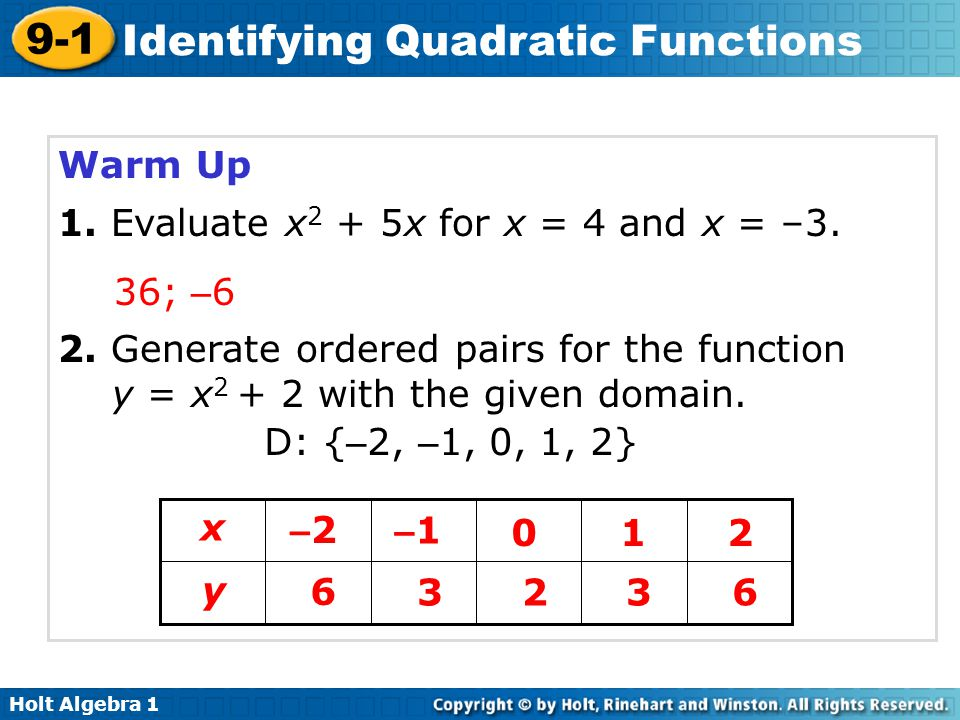Warm Up 1. Evaluate x2 + 5x for x = 4 and x = –3. 36; –6. 2. Generate ordered pairs for the function y = x2 + 2 with the given domain.