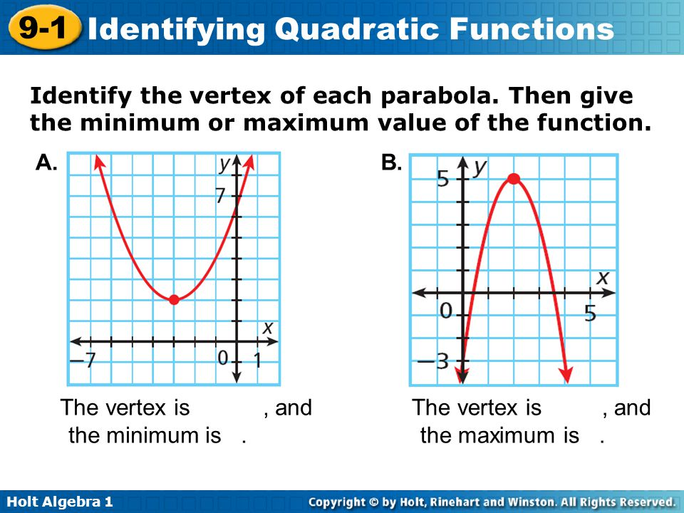 Identify the vertex of each parabola
