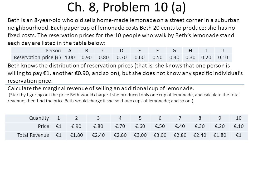Ch. 8, Problem 10 (a)