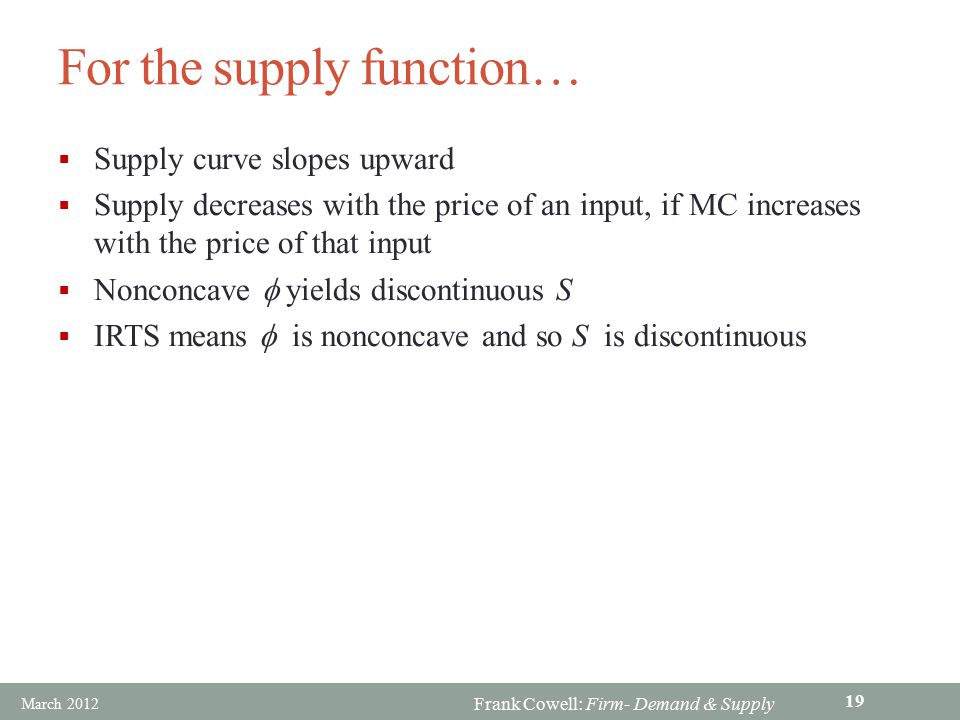 For the supply function…