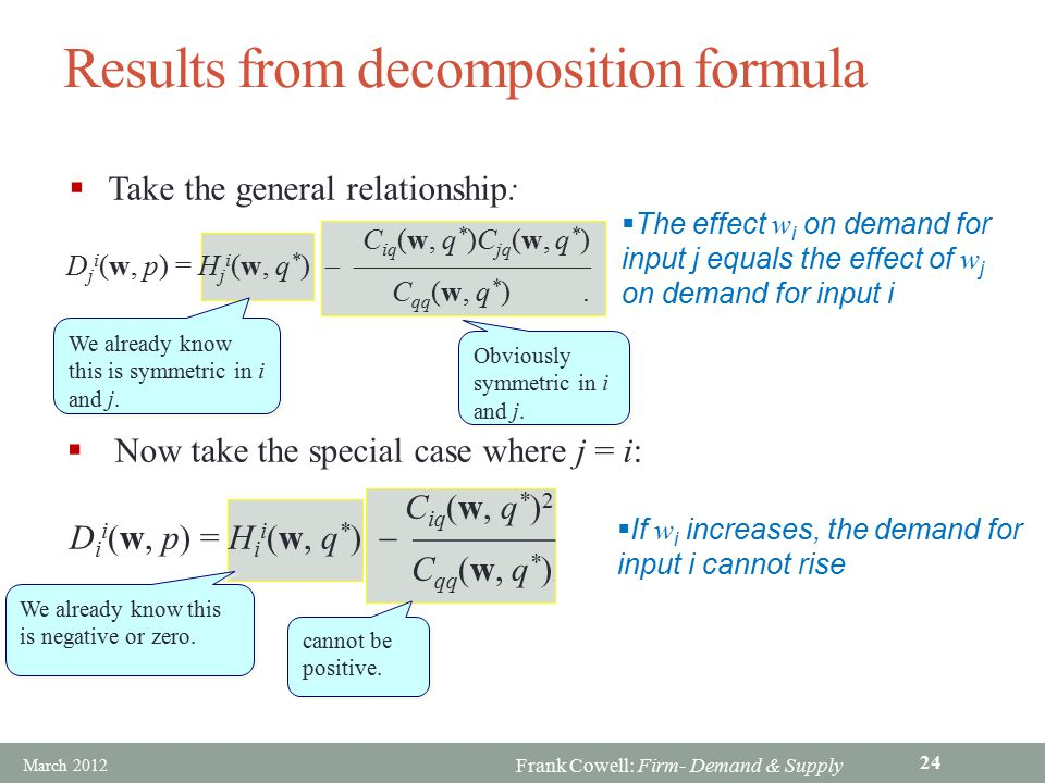 Results from decomposition formula
