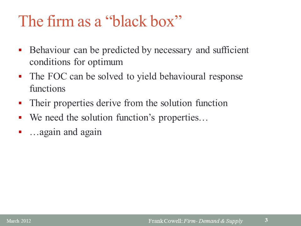 The firm as a black box