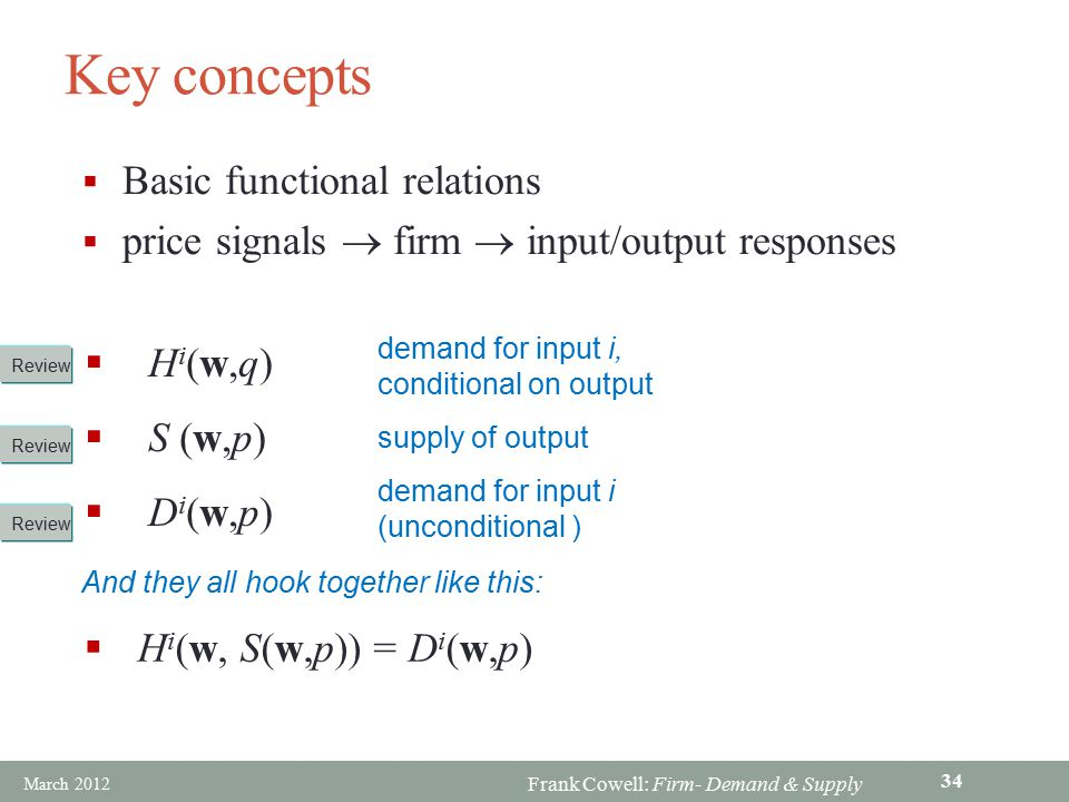 Key concepts Basic functional relations
