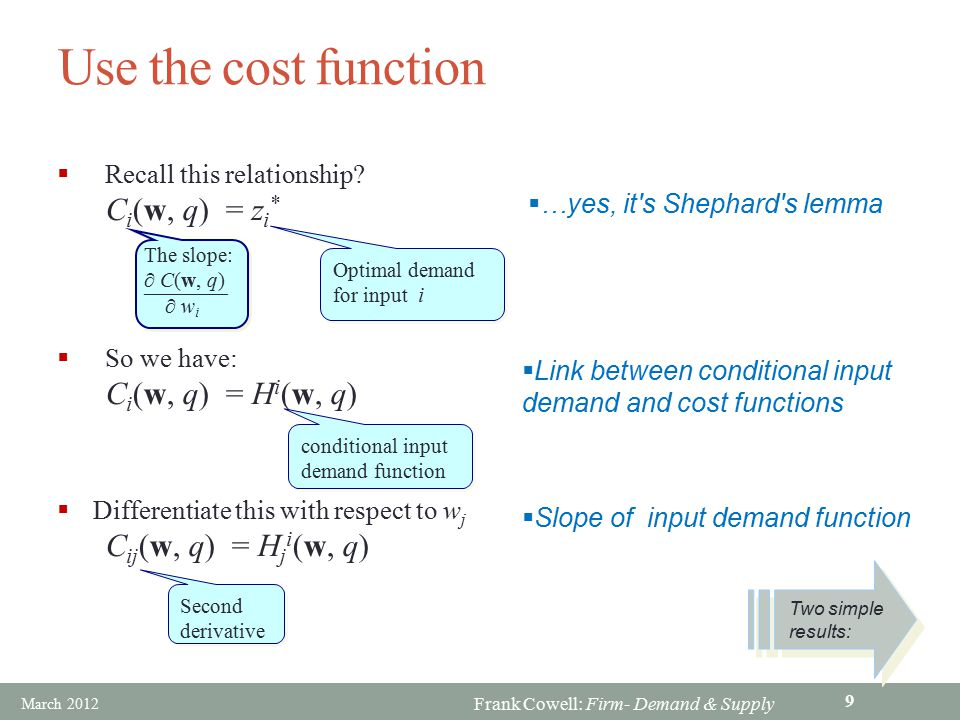 Use the cost function Ci(w, q) = zi* Ci(w, q) = Hi(w, q)