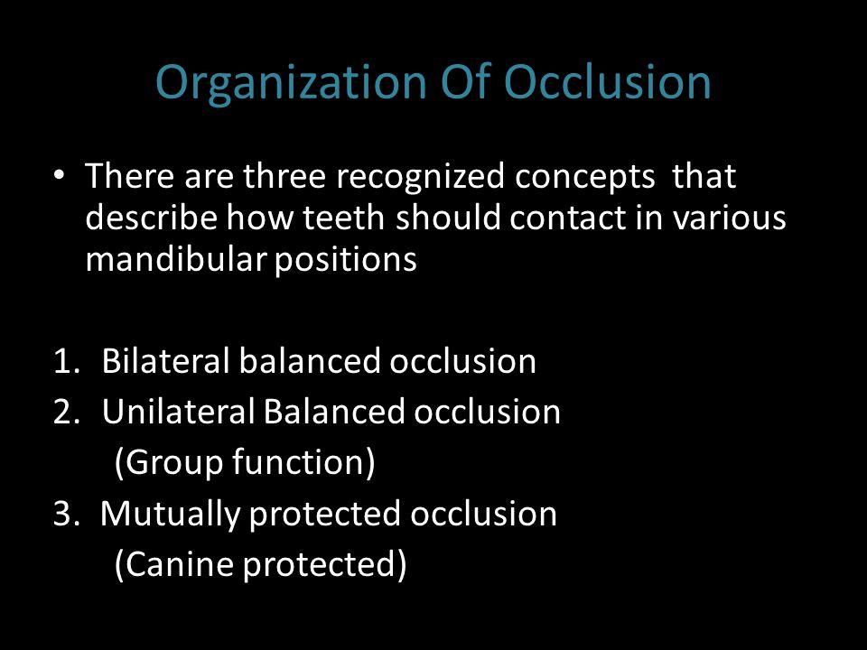 Organization Of Occlusion