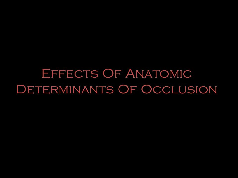 Effects Of Anatomic Determinants Of Occlusion