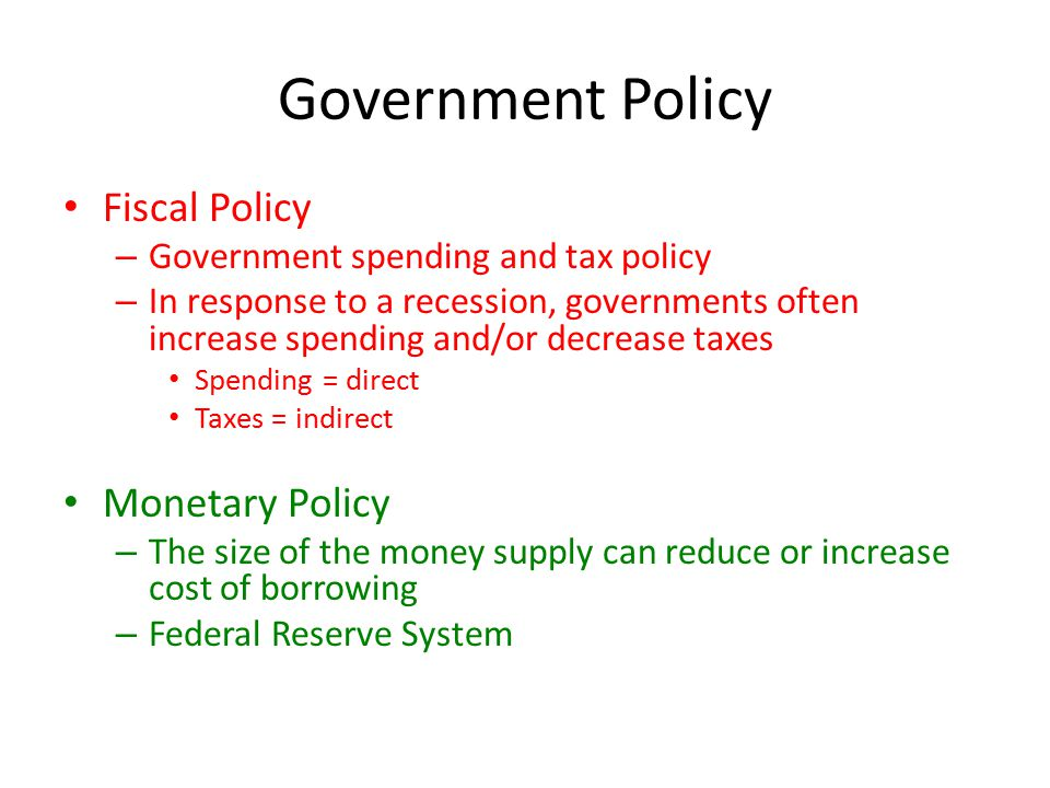 Government Policy Fiscal Policy Monetary Policy