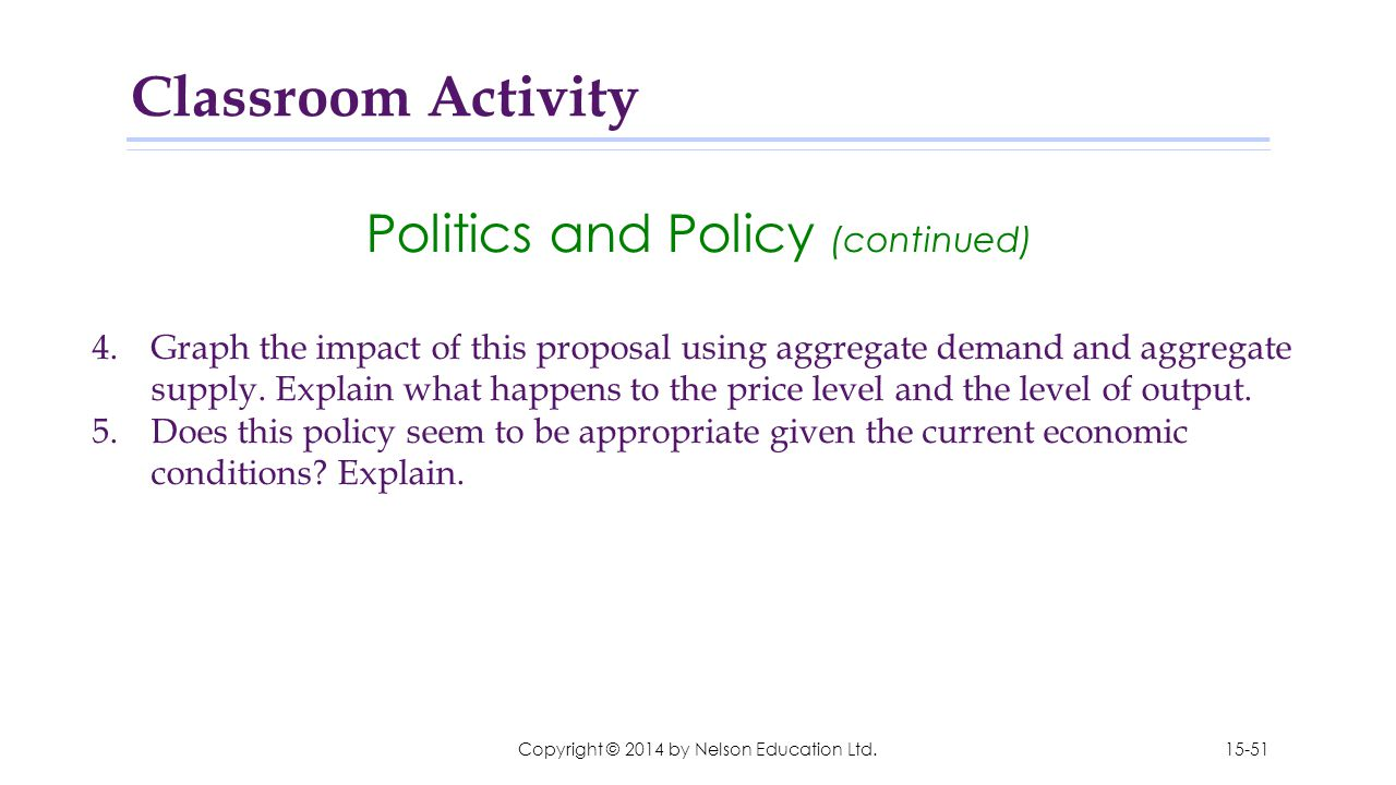 Classroom Activity Politics and Policy (continued)
