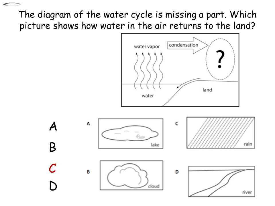 The diagram of the water cycle is missing a part