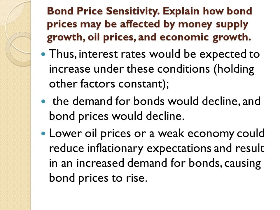 the demand for bonds would decline, and bond prices would decline.