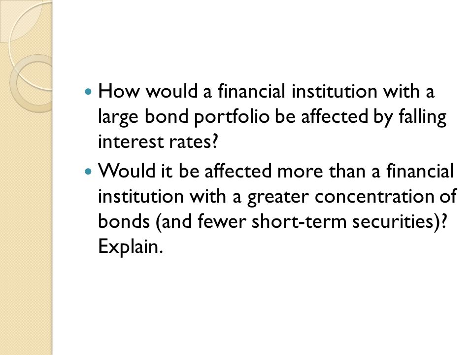 How would a financial institution with a large bond portfolio be affected by falling interest rates